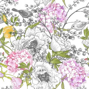 Seamless monochrome floral pattern with Birds