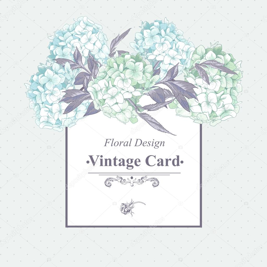 Gentle Blue Vintage Floral Greeting Card