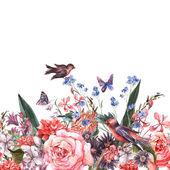 Květinové bezešvé akvarel hranice s růží