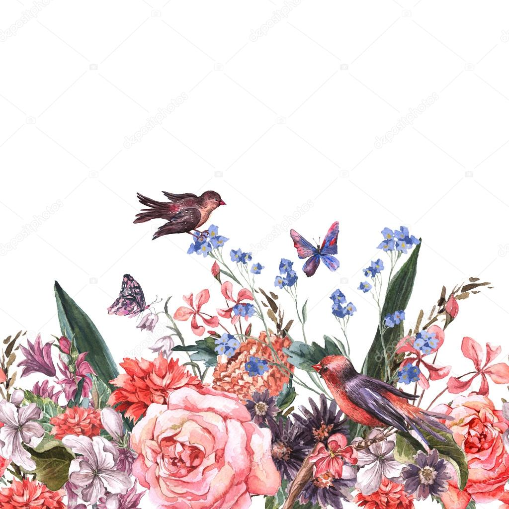 Floral seamless watercolor border with roses