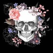 koponya és a virágok a nap a halott