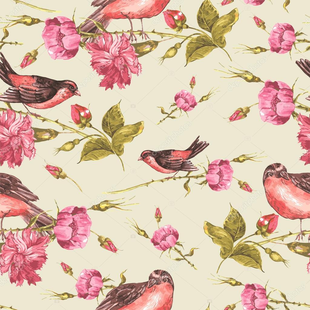Fondo Vintage con rosas y aves — Vector de stock © Depiano #68725865