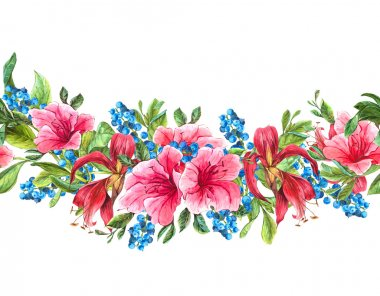 Seamless Watercolor Border with Tropical Flowers