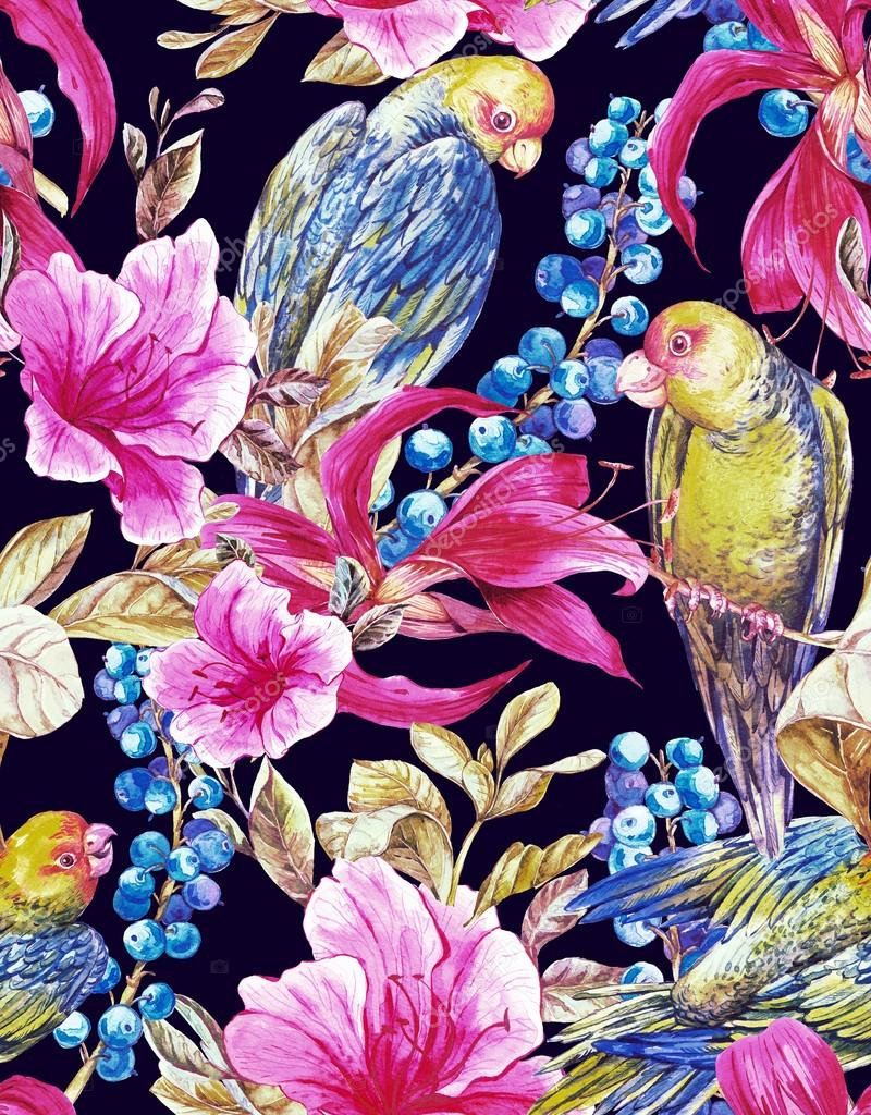 Seamless Background with Tropical Flowers, Parrots
