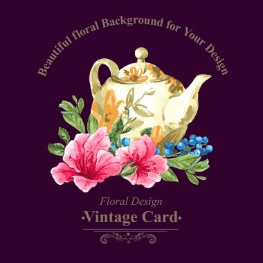 Invitation Vintage Card with Blueberries, Pink Tropical Flowers and Teapot