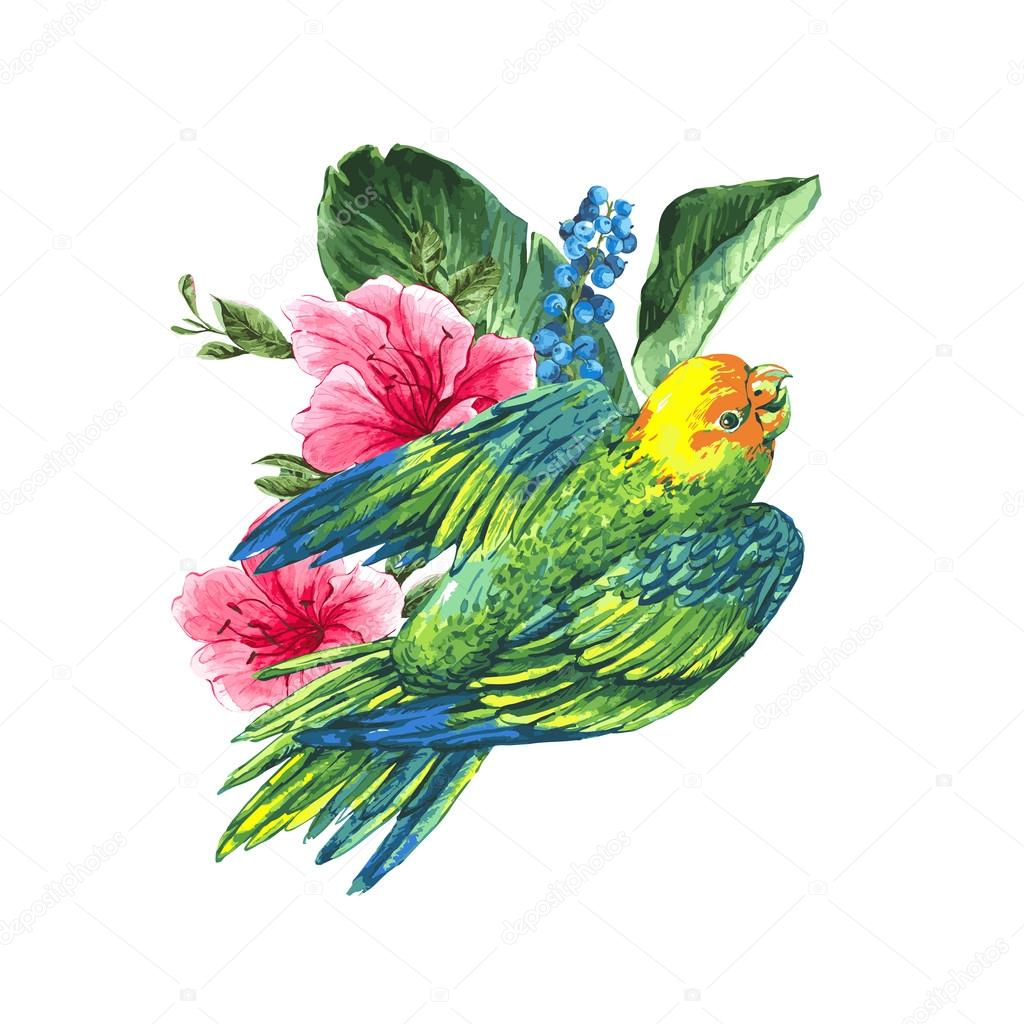 Watercolor Exotic Vintage Card with Blue berries, Pink Tropical Flowers and Green Parrots