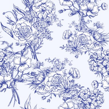 Retro Summer Seamless Monochrome Floral Pattern, Vintage Greeting Bouquet, Vector illustration Roses Poppies Bluebells Peony Lily stock vector