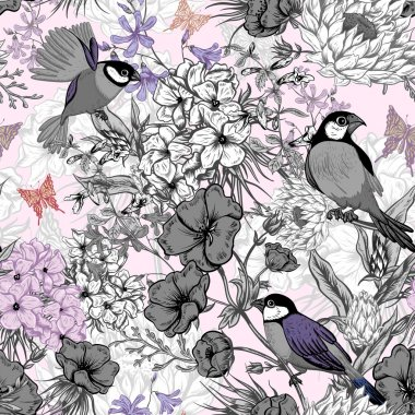 Retro Summer Seamless Monochrome Floral Pattern with Birds and Butterflies. Blooming Hydrangea, Poppies and Bluebells Lily. Vector illustration stock vector