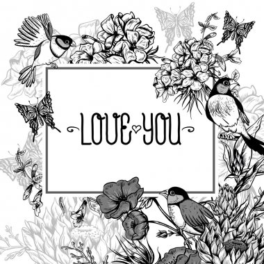 Vintage Monochrome Floral Greeting Card with Birds and Butterflies. Blooming Hydrangea, Poppies and Bluebells, Lily. Vector illustration with Place for Your Text stock vector