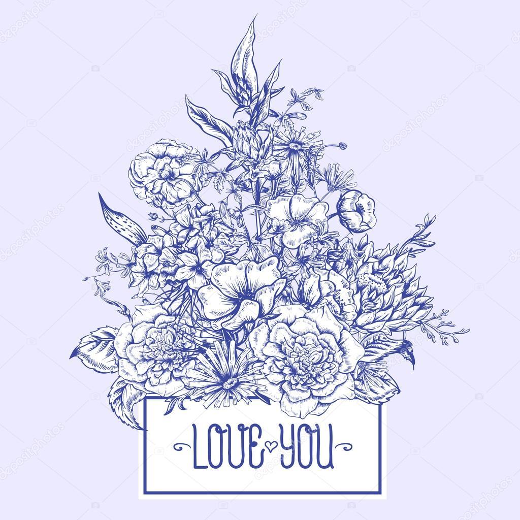 Monochrome Retro Summer Floral Greeting Card, Vintage Bouquet