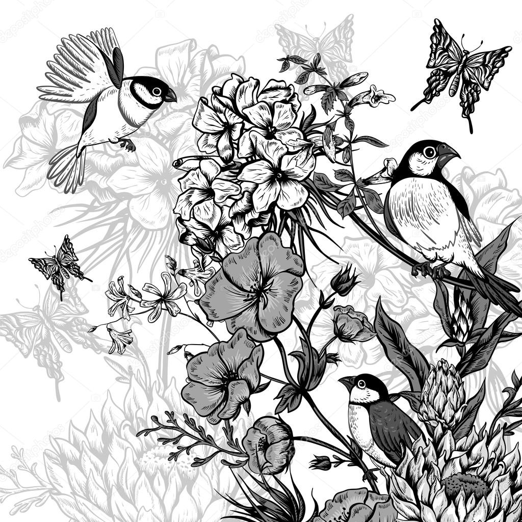 Vintage Monochrome Floral Greeting Card with Birds and Butterflies