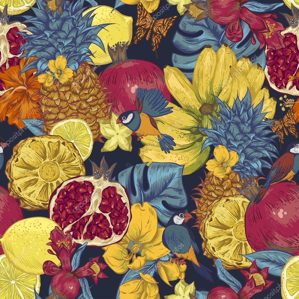 Vintage Seamless Background, Tropical Fruit, Flowers, Butterfly and Birds