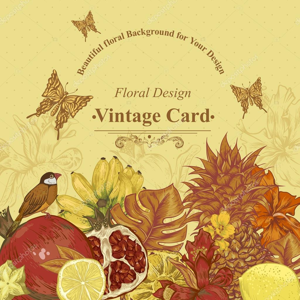 Vintage Greeting Card Tropical Fruit, Flowers, Butterfly and Birds