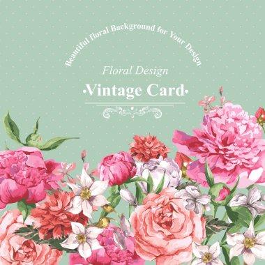 Vintage Watercolor Greeting Card with Blooming Flowers. Roses, Wildflowers and Peonies