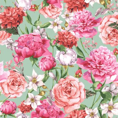 Summer Seamless  Watercolor Pattern with Pink Peonies and Roses on a White Background