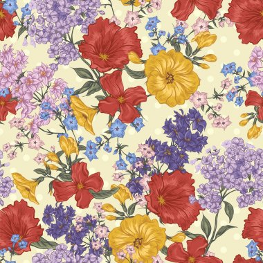 Beautiful Seamless Background with Spring and Summer Flowers