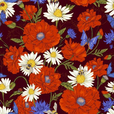 Summer Vintage Floral Seamless Pattern with Blooming Red Poppies