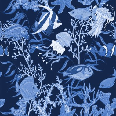 Blue sea life seamless background, underwater vector illustration