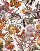 Aquarell Leben im Meer nahtlose Hintergrund, Unterwasser-Aquarellillustration