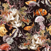 Watercolor shabby sea life seamless background with skull, underwater watercolor illustration