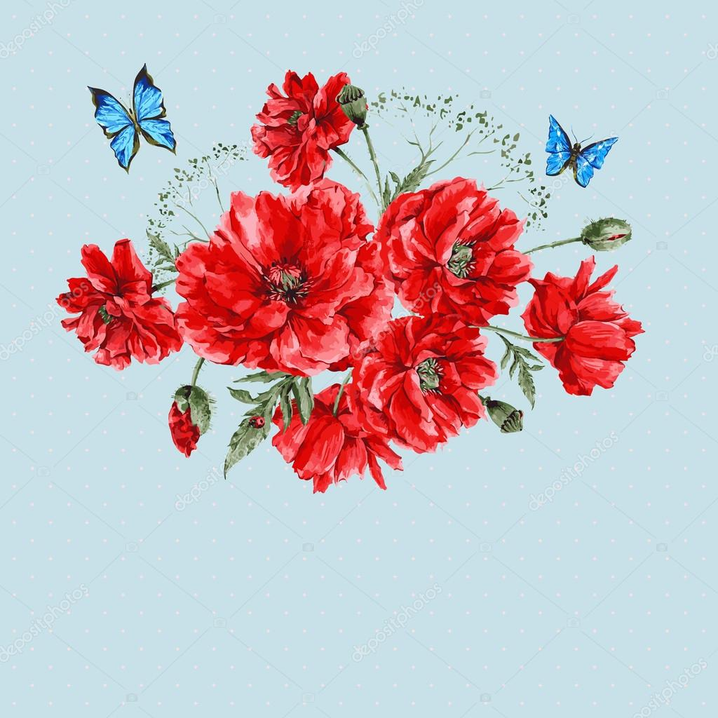 Watercolor Vintage Card with Red Poppies Bouquet