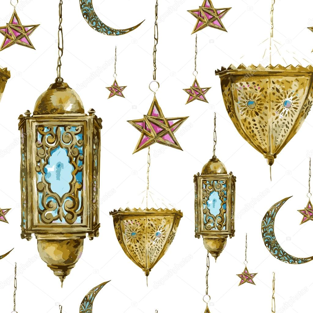 Traditional watercolor seamless background with arabic lantern, stars and moon