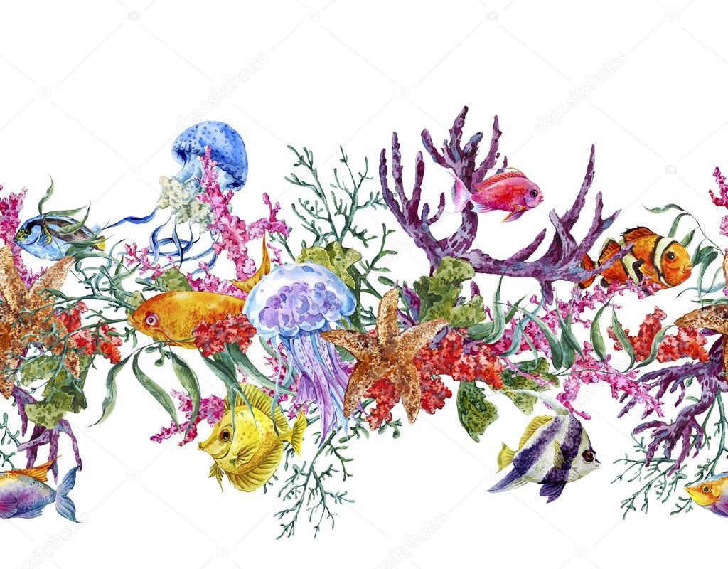 Summer Vintage Watercolor Sea Life Seamless Border with Seaweed Starfish Coral Algae, Jellyfish and Fish