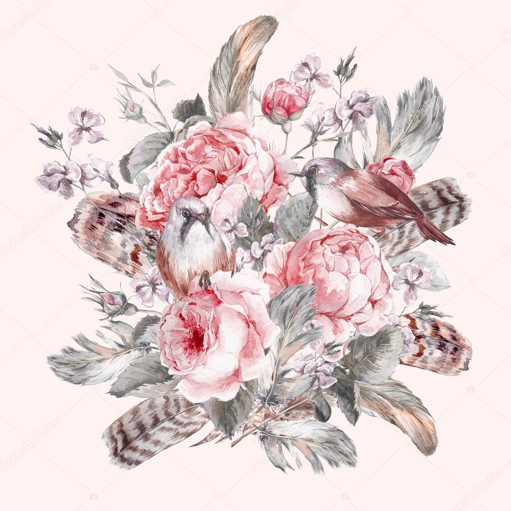 Classical watercolor floral vintage greeting card with rose birds and feathers