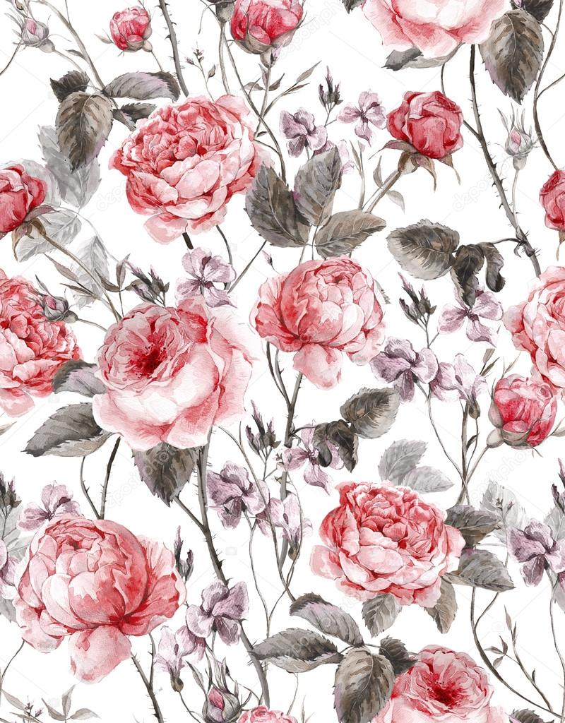 Classical vintage floral seamless pattern, watercolor bouquet of English roses and wildflowers