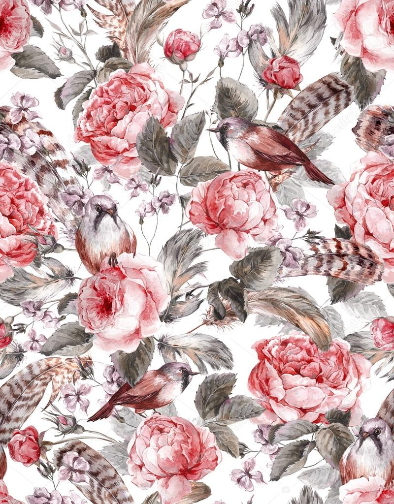 Watercolor floral vintage seamless pattern with roses birds and feathers