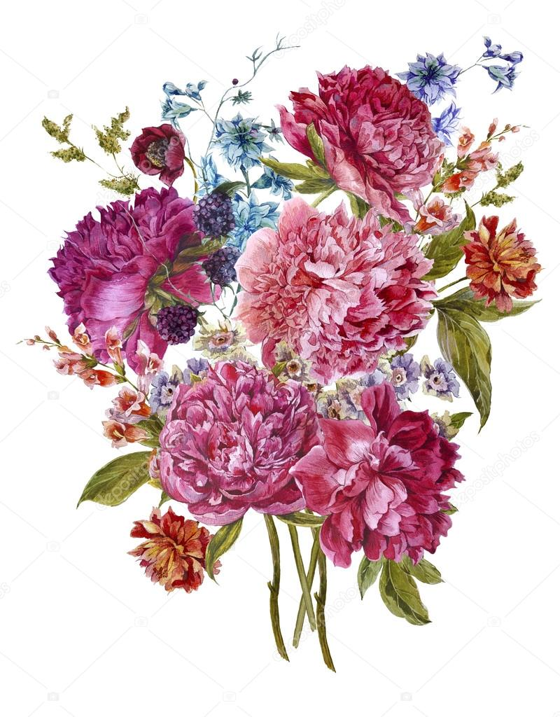 Watercolor Floral Bouquet with Burgundy Peonies in Vintage Style  u2014 Stock Photo  u00a9 Depiano #80375196