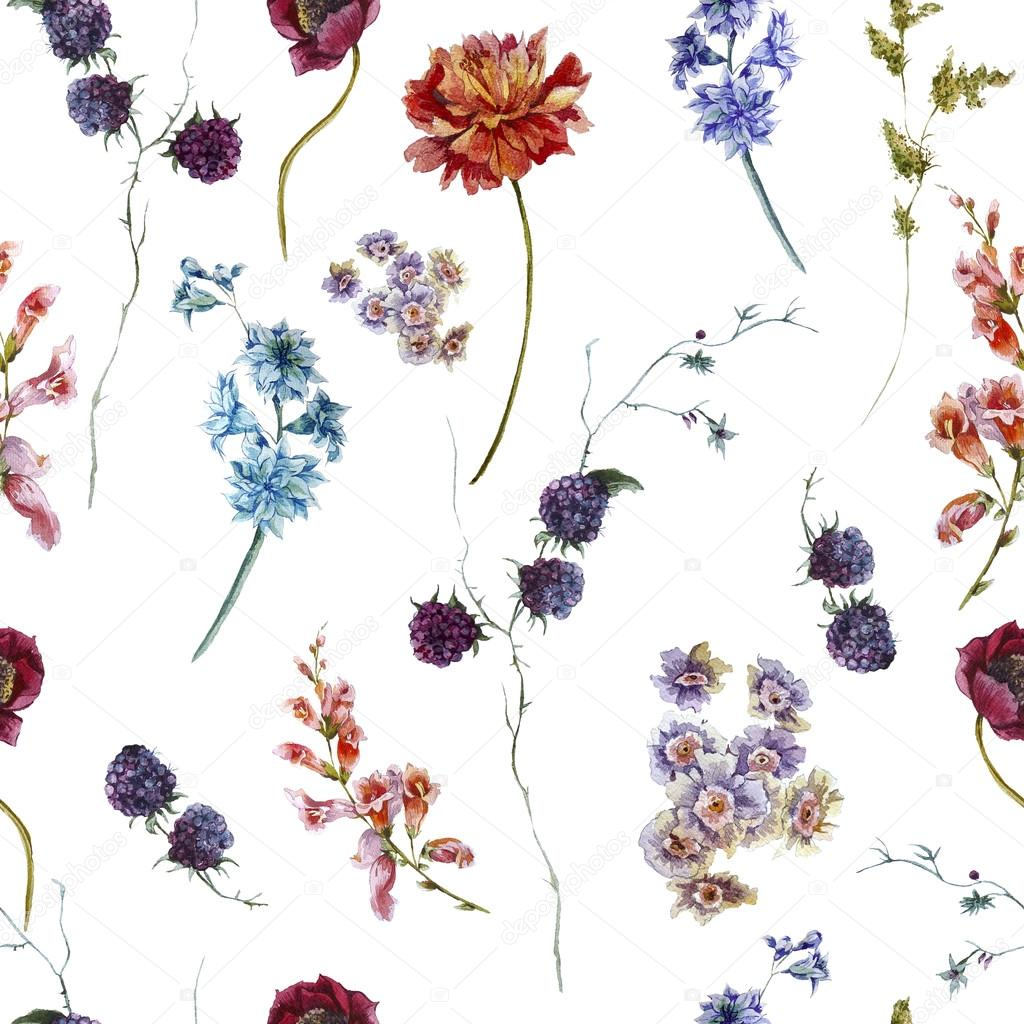 Watercolor floral seamless pattern with wildflowers