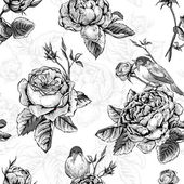 Fotografie Floral seamless pattern with roses and birds
