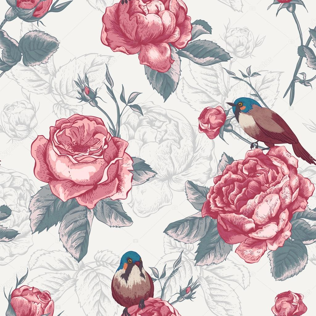 Botanical floral seamless pattern with roses and birds