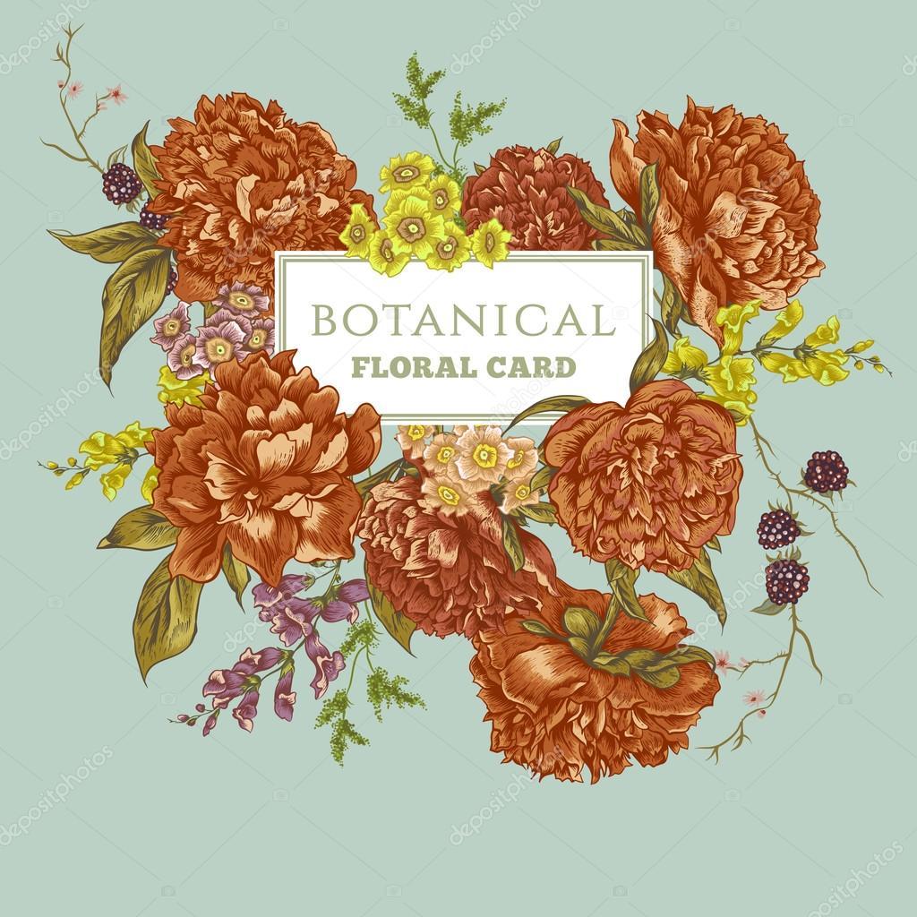 Vintage Greeting Card with Blooming Peonies