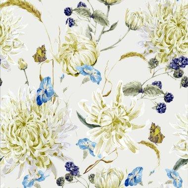 Vintage Floral Seamless Pattern with Chrysanthemums
