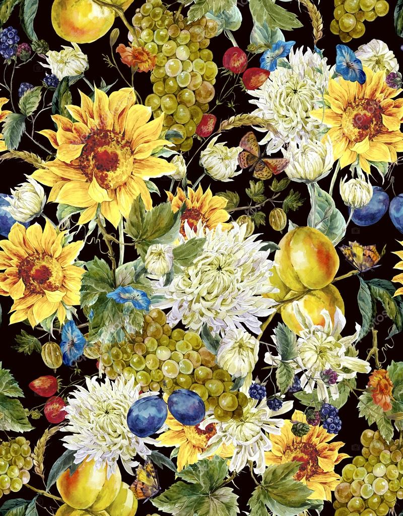 Watercolor seamless background  with chrysanthemums, fruits, sun