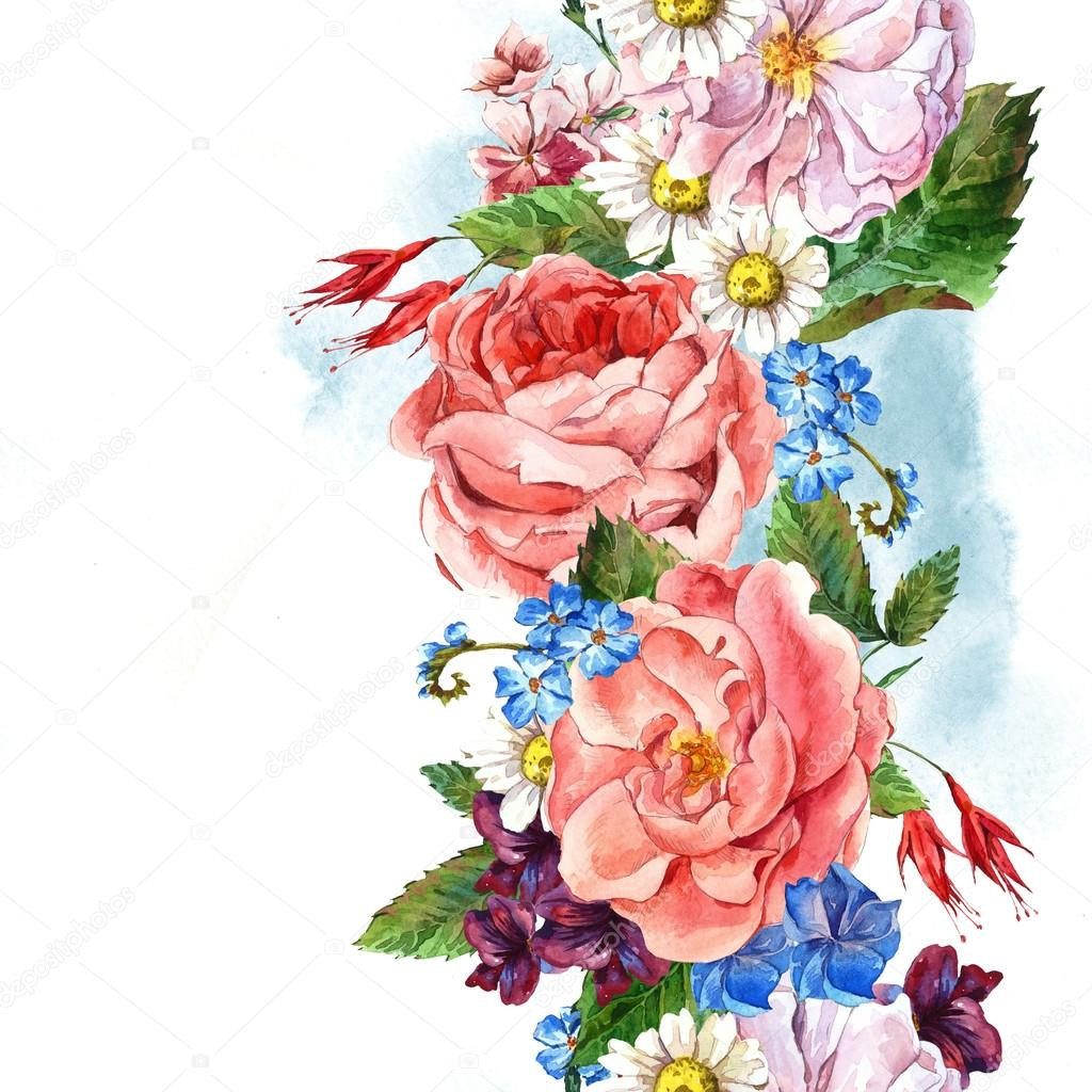 Floral Vintage Seamless Border, watercolor illustration.