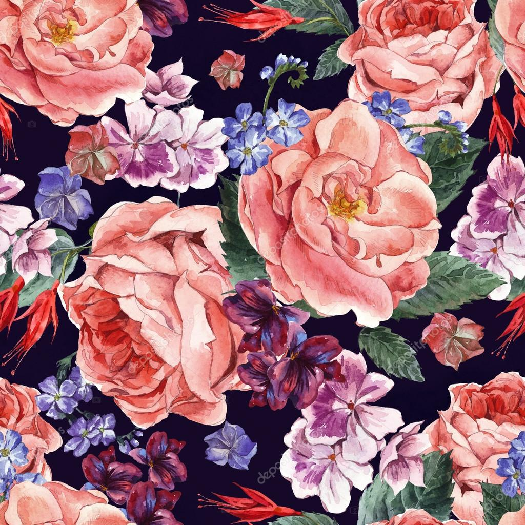 Floral Vintage Seamless Pattern, watercolor illustration.
