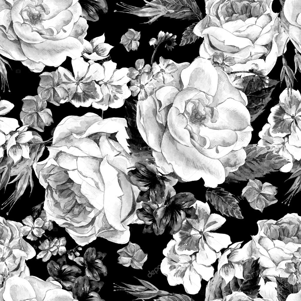 Floral Monochrome Vintage Seamless Pattern, watercolor illustrat