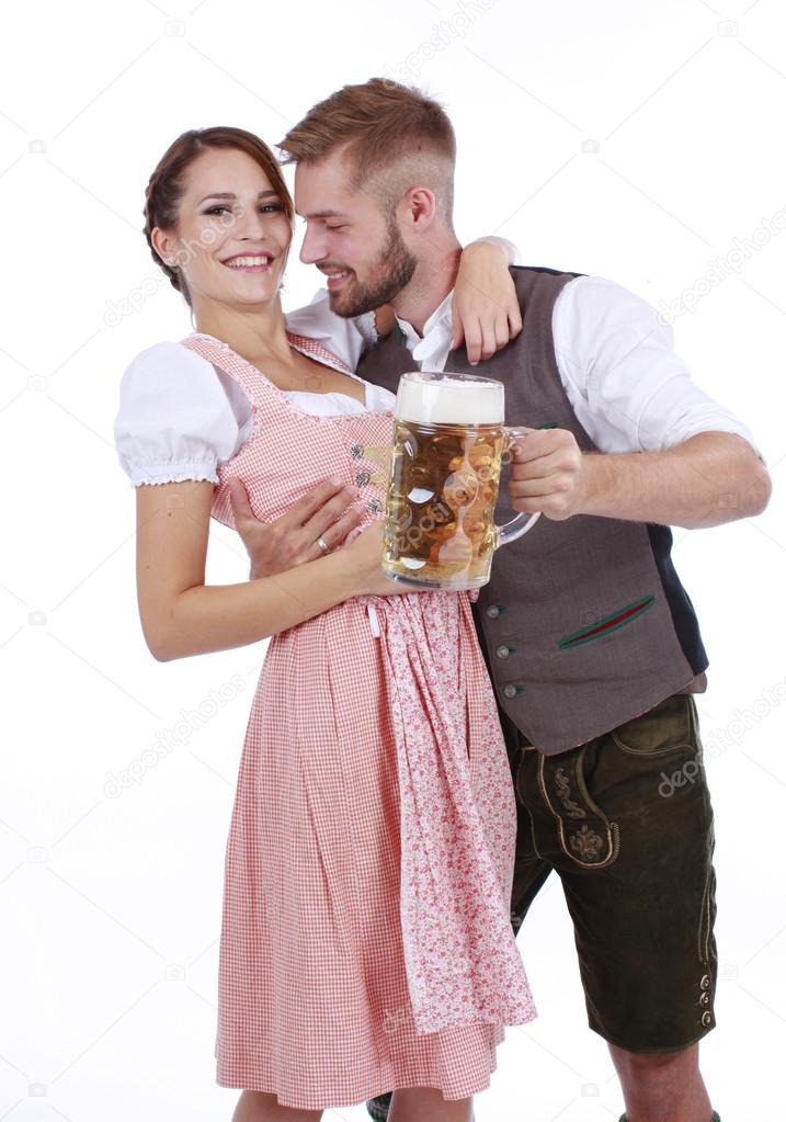 Bavarian couple in traditional costume with beer and brezel u2014 Photo by absolutimages  sc 1 th 268 & Bavarian couple in traditional costume with beer and brezel u2014 Stock ...