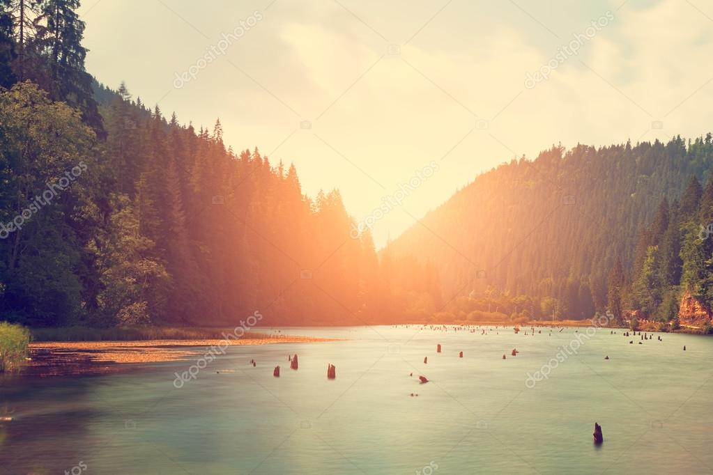 Mountain lake with sunset