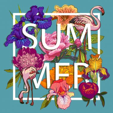 Floral and birds flamingos Love Graphic Design