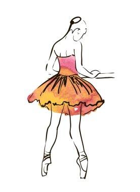 Hand drawing ballerina figure