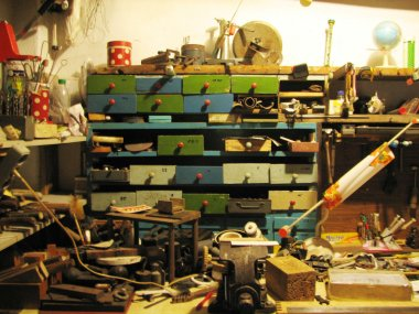 old instruments in tool box