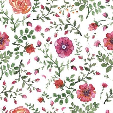 "Картина, постер, плакат, фотообои ""flowers watercolor pattern"", артикул 82493146"