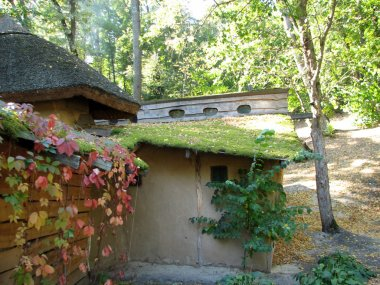 The old adobe house with a thatched roof