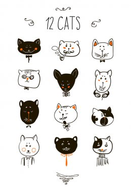 Set of cats heads. Face  Vector illustration