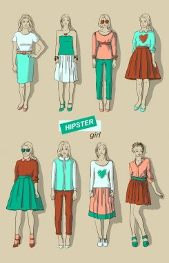 vector illustration of fashion girls hipsters set