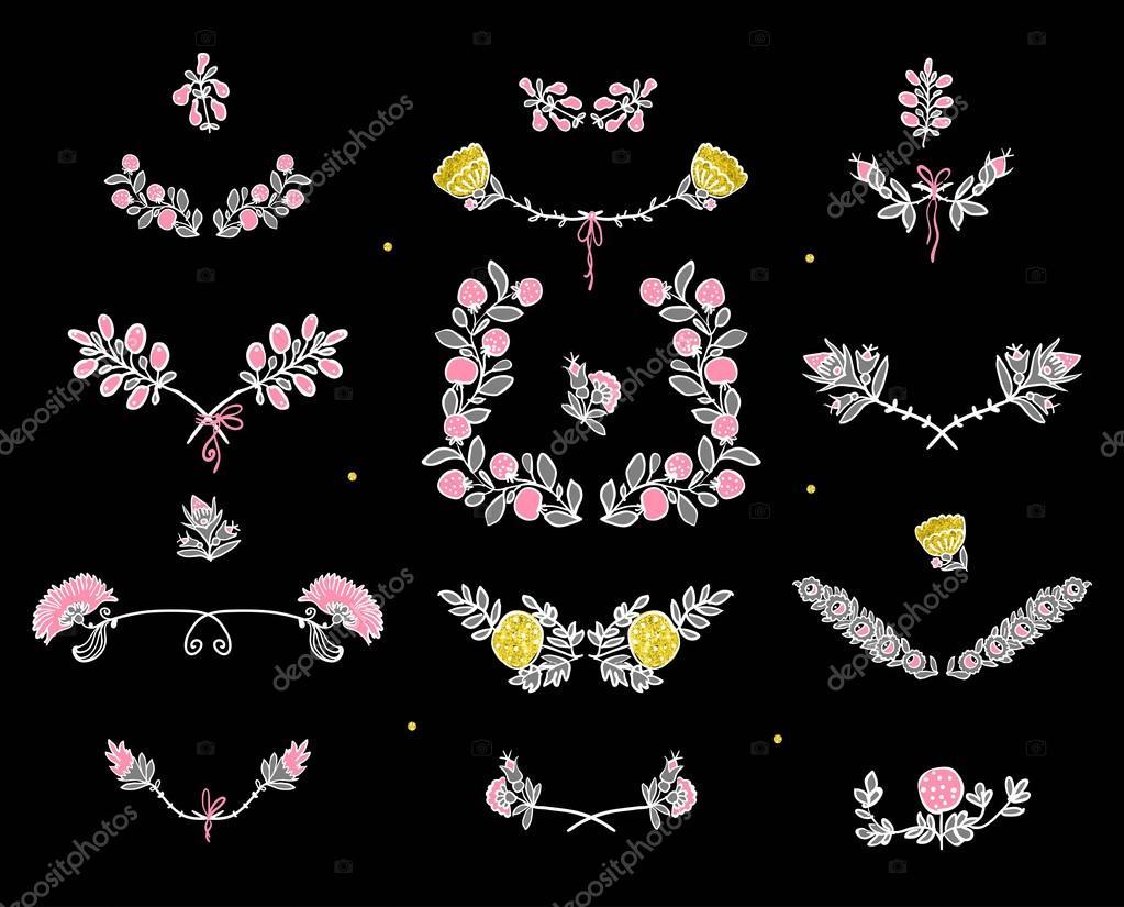 Big set of floral graphic design elements